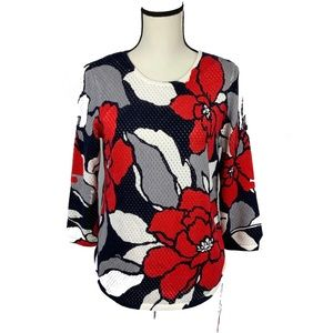 Alfred dinner floral knit top long sleeves